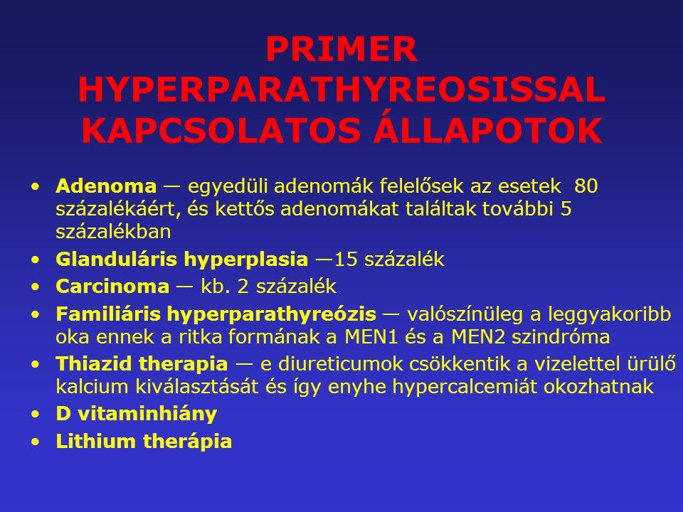 PRIMER HYPERPARATHYREOSISSAL KAPCSOLATOS ÁLLAPOTOK