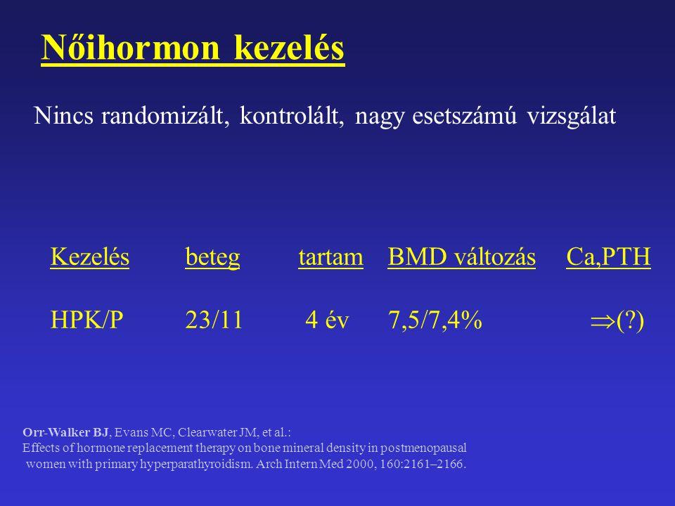 Nőihormon kezelés Nincs randomizált, kontrolált, nagy esetszámú vizsgálat. Kezelés beteg tartam BMD változás Ca,PTH.
