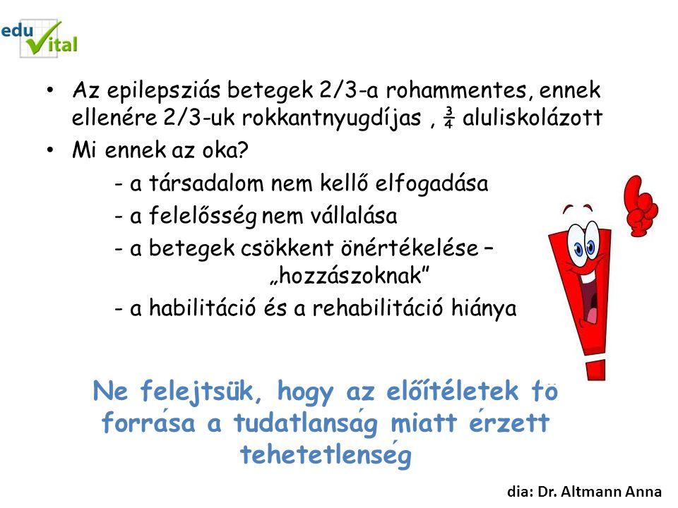 Az epilepsziás betegek 2/3-a rohammentes, ennek ellenére 2/3-uk rokkantnyugdíjas , ¾ aluliskolázott
