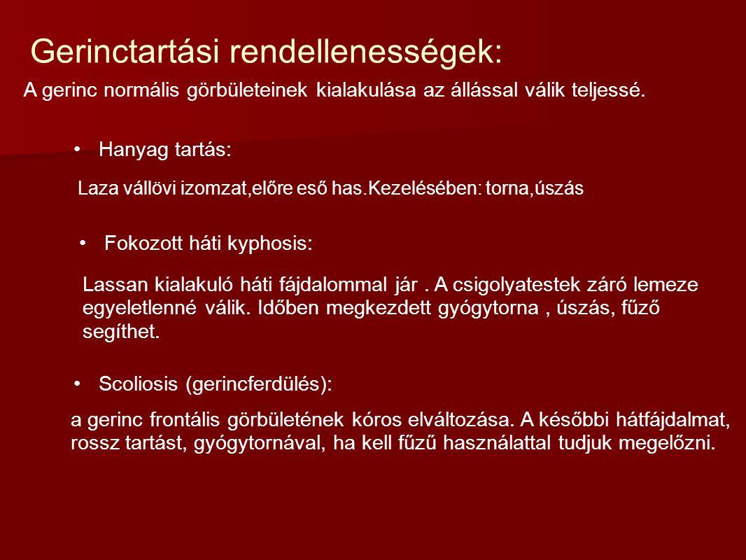 Gerinctartási rendellenességek:
