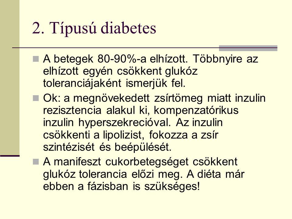 2. Típusú diabetes A betegek 80-90%-a elhízott. Többnyire az elhízott egyén csökkent glukóz toleranciájaként ismerjük fel.