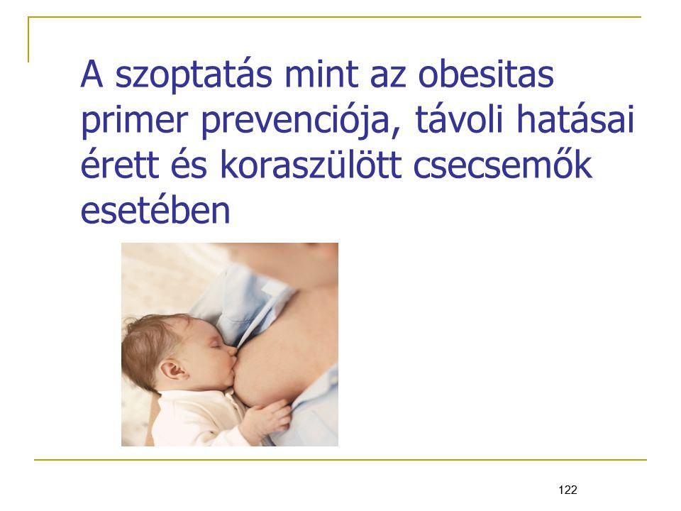 A szoptatás mint az obesitas primer prevenciója, távoli hatásai érett és koraszülött csecsemők esetében