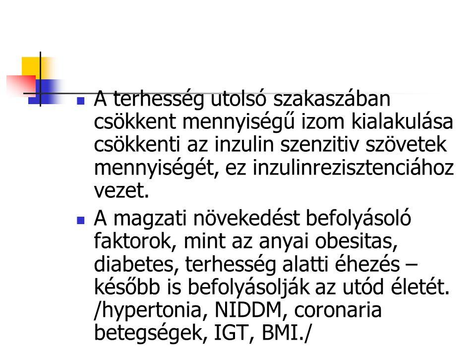 A terhesség utolsó szakaszában csökkent mennyiségű izom kialakulása csökkenti az inzulin szenzitiv szövetek mennyiségét, ez inzulinrezisztenciához vezet.