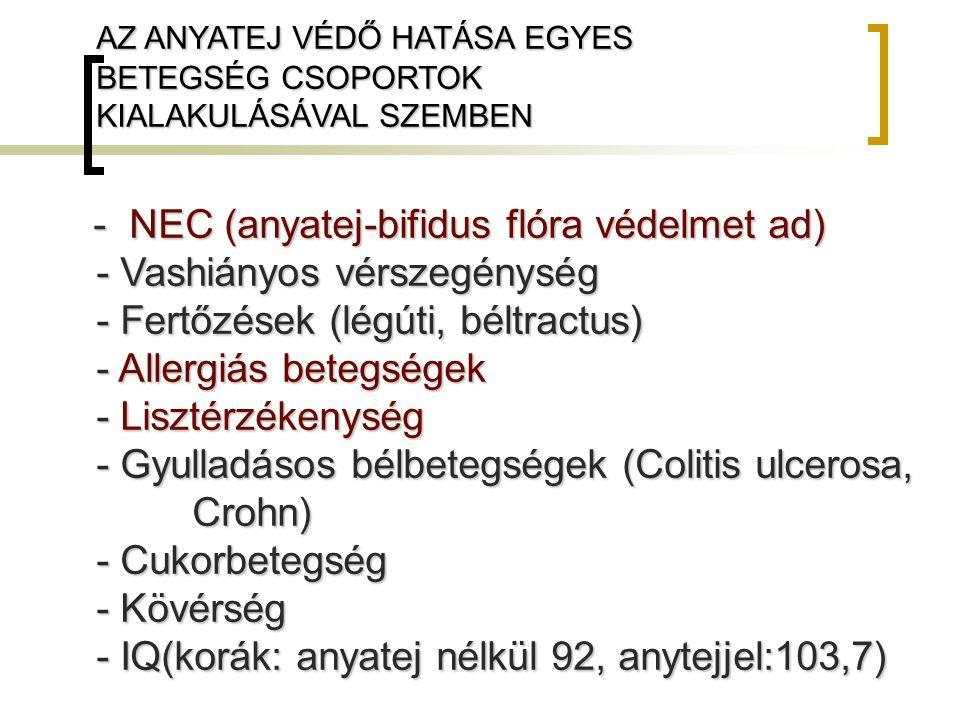- NEC (anyatej-bifidus flóra védelmet ad) - Vashiányos vérszegénység