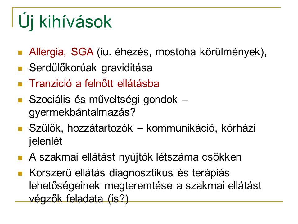 Új kihívások Allergia, SGA (iu. éhezés, mostoha körülmények),