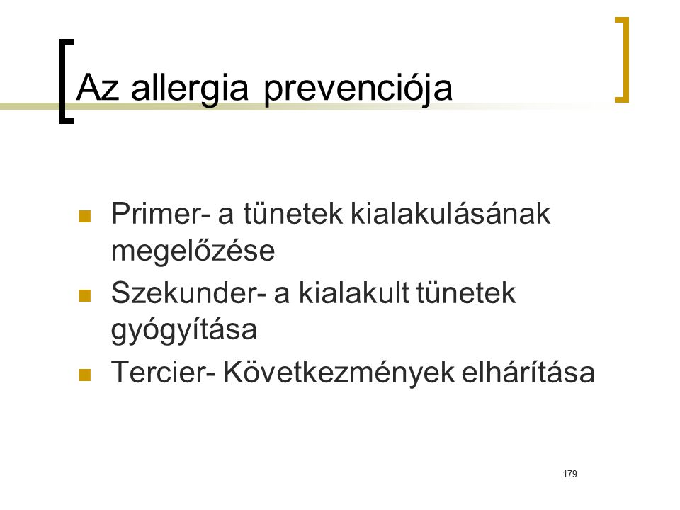 Az allergia prevenciója
