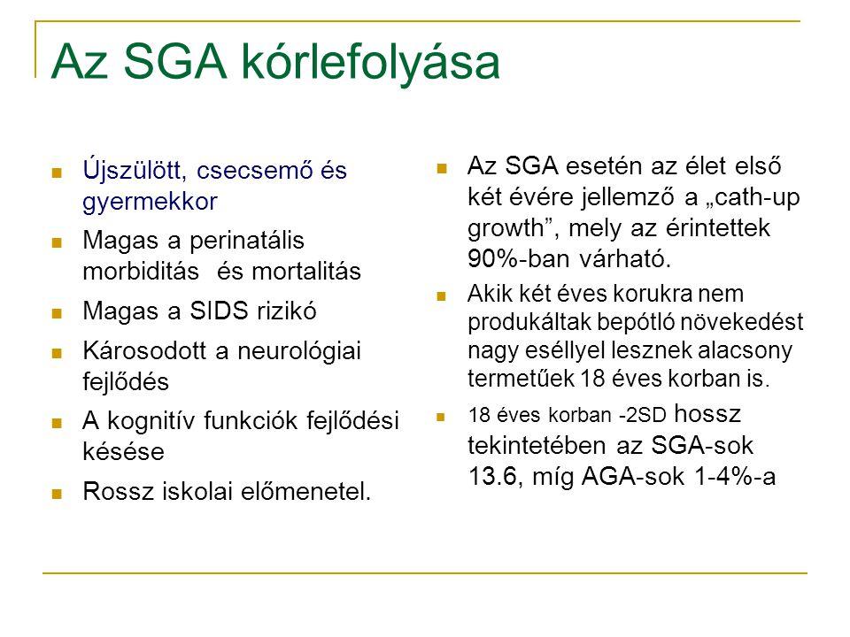 Az SGA kórlefolyása Újszülött, csecsemő és gyermekkor