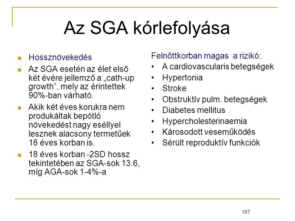 Az SGA kórlefolyása Hossznövekedés Felnőttkorban magas a rizikó: