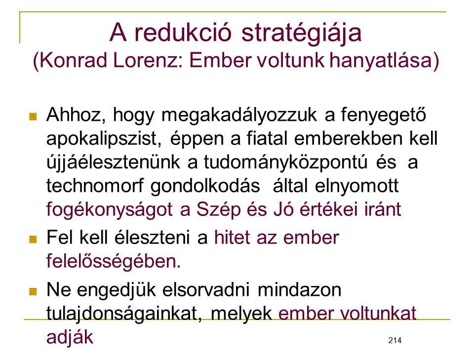 A redukció stratégiája (Konrad Lorenz: Ember voltunk hanyatlása)