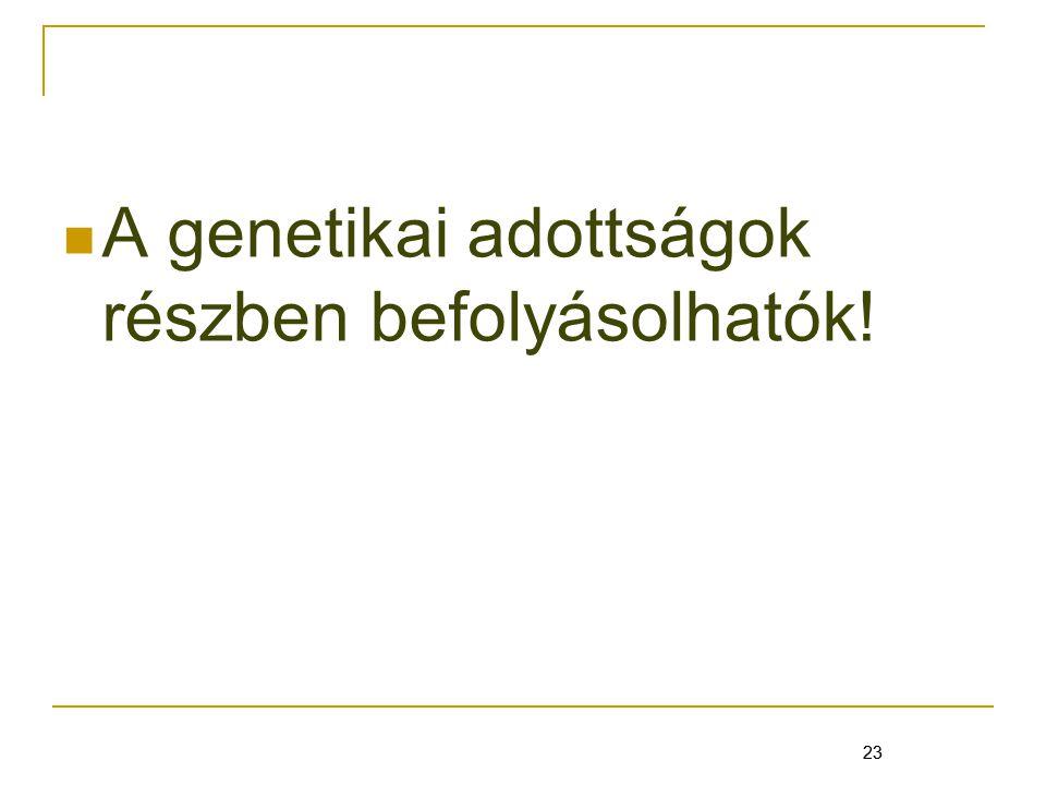 A genetikai adottságok részben befolyásolhatók!