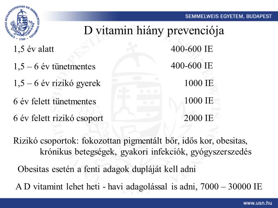 D vitamin hiány prevenciója
