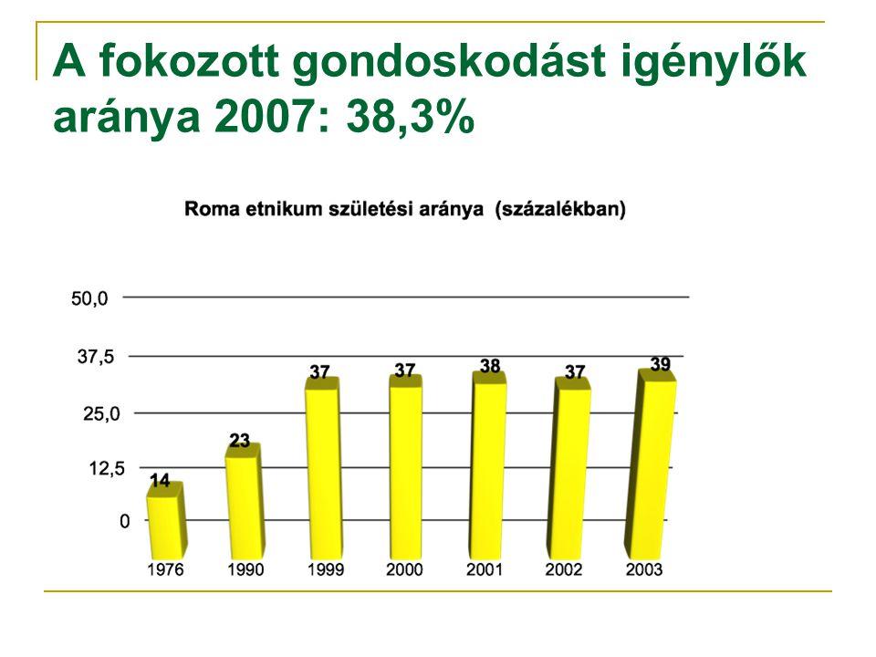 A fokozott gondoskodást igénylők aránya 2007: 38,3%