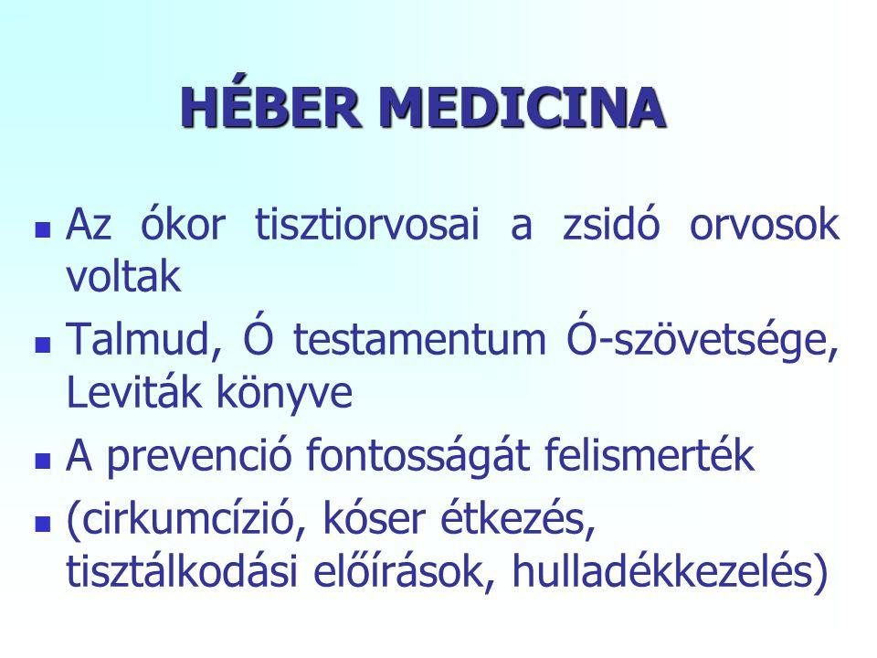 HÉBER MEDICINA Az ókor tisztiorvosai a zsidó orvosok voltak