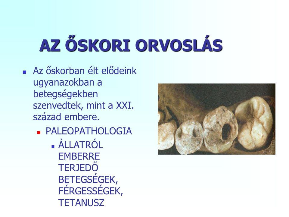 AZ ŐSKORI ORVOSLÁS Az őskorban élt elődeink ugyanazokban a betegségekben szenvedtek, mint a XXI. század embere.