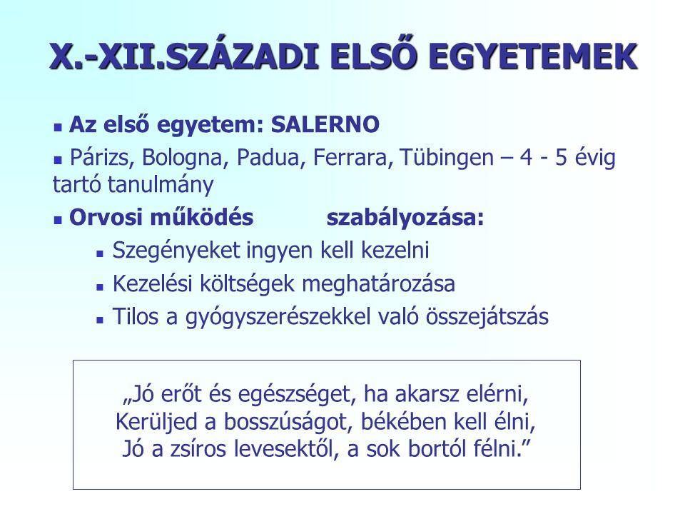 X.-XII.SZÁZADI ELSŐ EGYETEMEK
