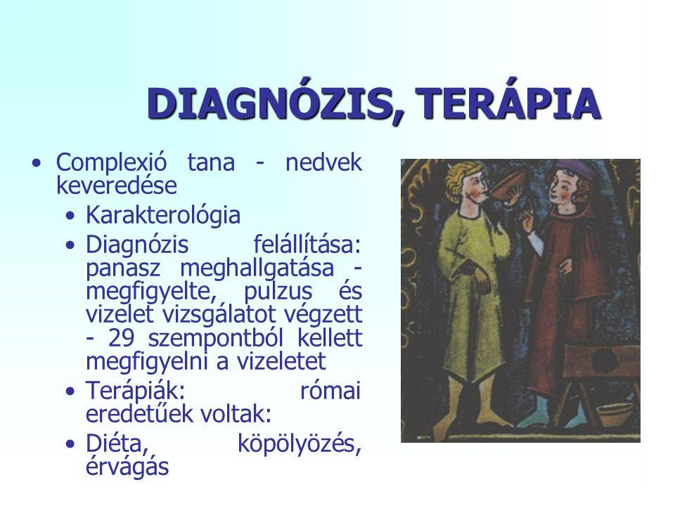 DIAGNÓZIS, TERÁPIA Complexió tana - nedvek keveredése Karakterológia
