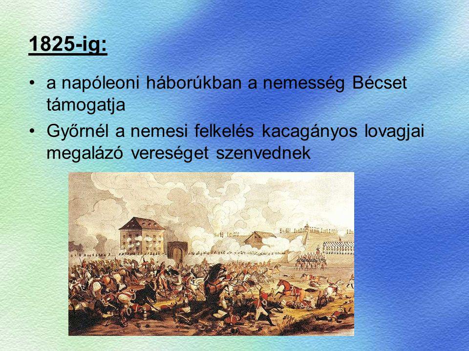 1825-ig: a napóleoni háborúkban a nemesség Bécset támogatja