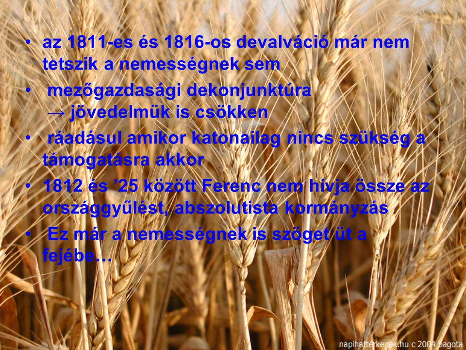 az 1811-es és 1816-os devalváció már nem tetszik a nemességnek sem