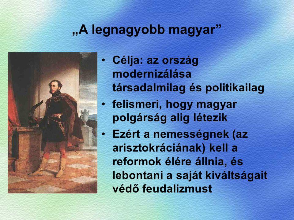 """""""A legnagyobb magyar Célja: az ország modernizálása társadalmilag és politikailag. felismeri, hogy magyar polgárság alig létezik."""