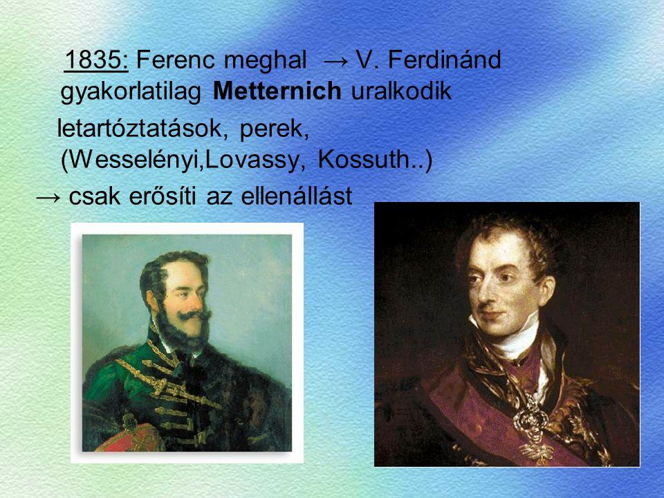 1835: Ferenc meghal → V. Ferdinánd gyakorlatilag Metternich uralkodik