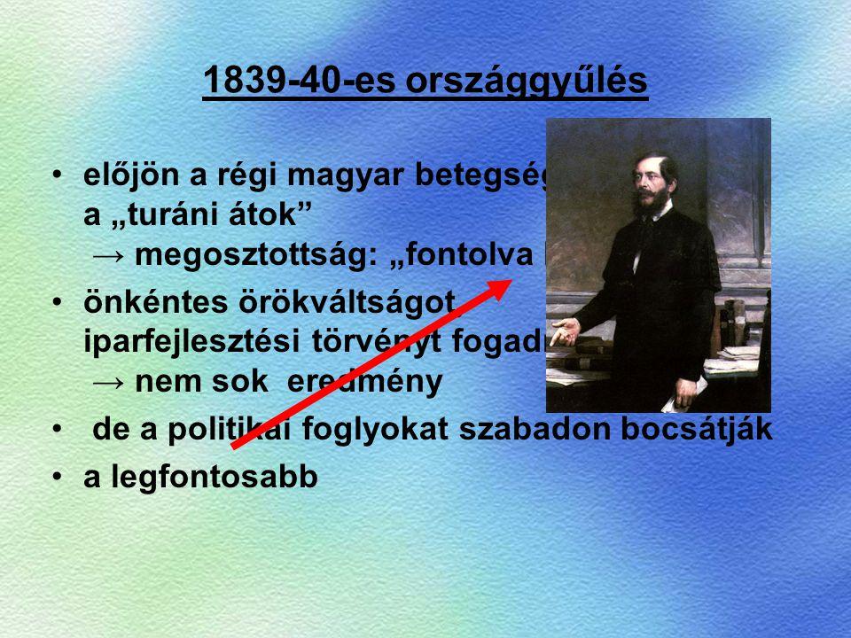 """1839-40-es országgyűlés előjön a régi magyar betegség, a """"turáni átok → megosztottság: """"fontolva haladók"""