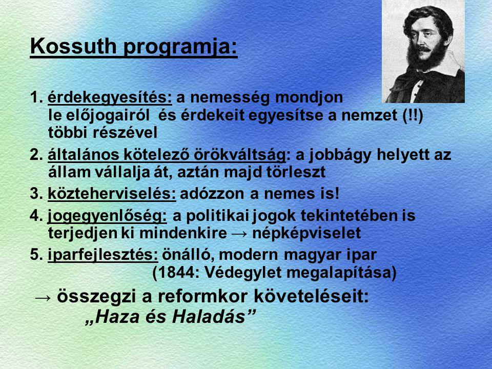 Kossuth programja: 1. érdekegyesítés: a nemesség mondjon le előjogairól és érdekeit egyesítse a nemzet (!!) többi részével.