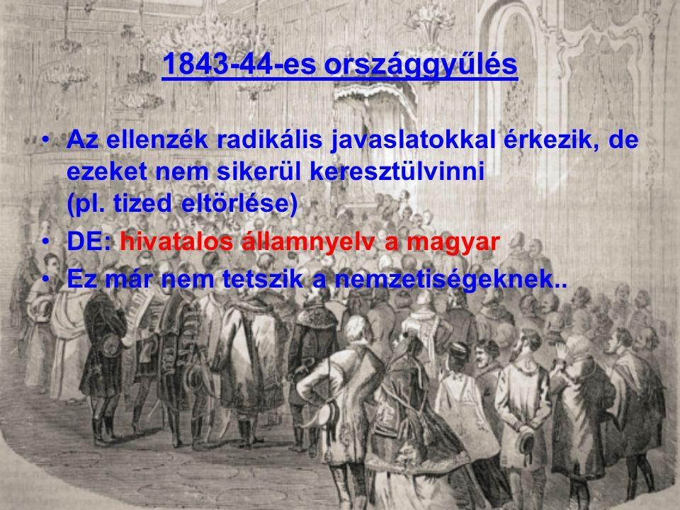 1843-44-es országgyűlés Az ellenzék radikális javaslatokkal érkezik, de ezeket nem sikerül keresztülvinni (pl. tized eltörlése)