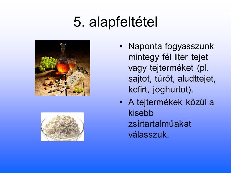 5. alapfeltétel Naponta fogyasszunk mintegy fél liter tejet vagy tejterméket (pl. sajtot, túrót, aludttejet, kefirt, joghurtot).
