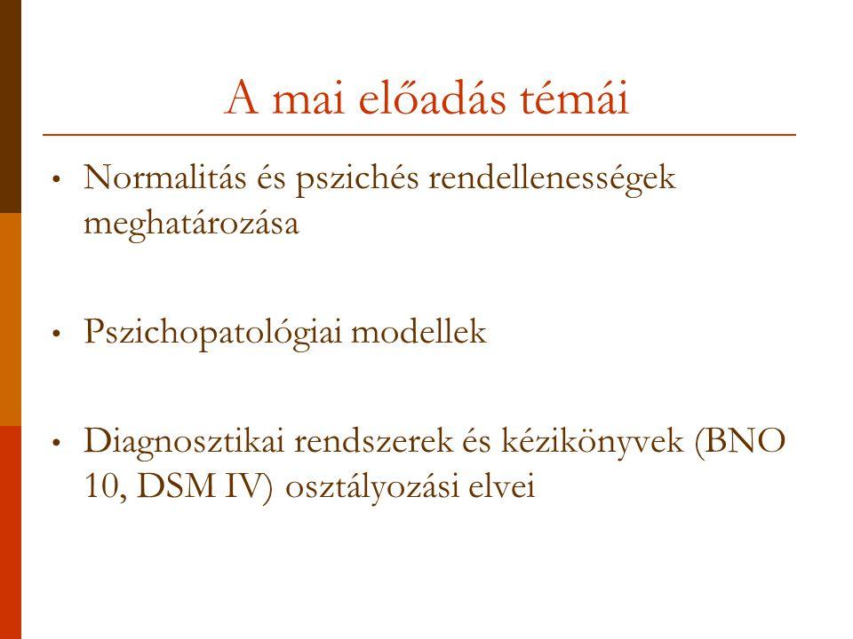 A mai előadás témái Normalitás és pszichés rendellenességek meghatározása. Pszichopatológiai modellek.