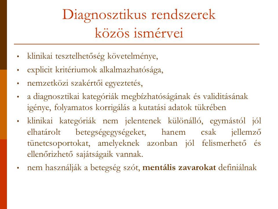 Diagnosztikus rendszerek közös ismérvei