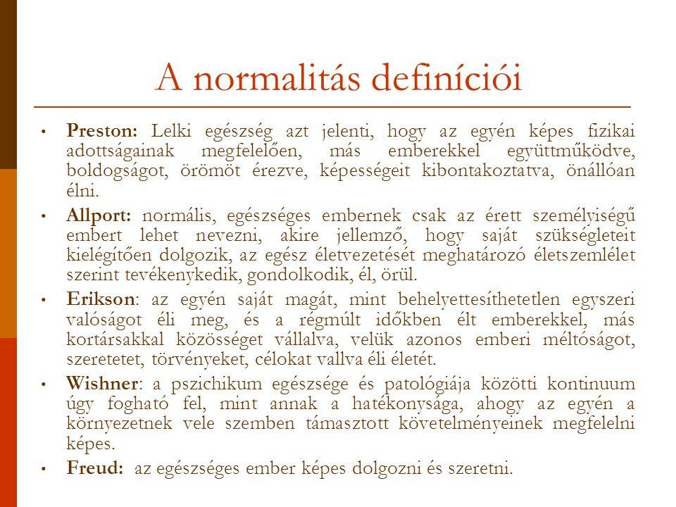 A normalitás definíciói