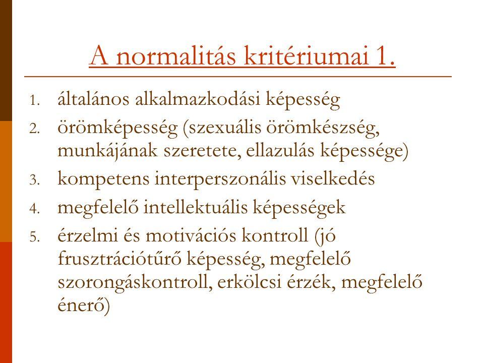 A normalitás kritériumai 1.