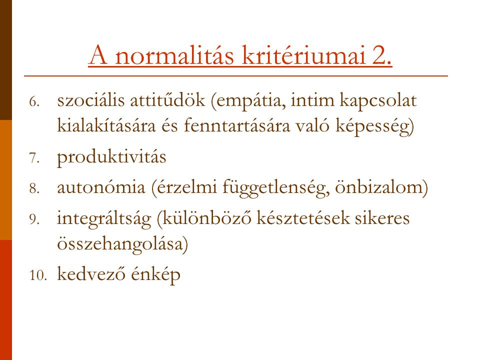 A normalitás kritériumai 2.