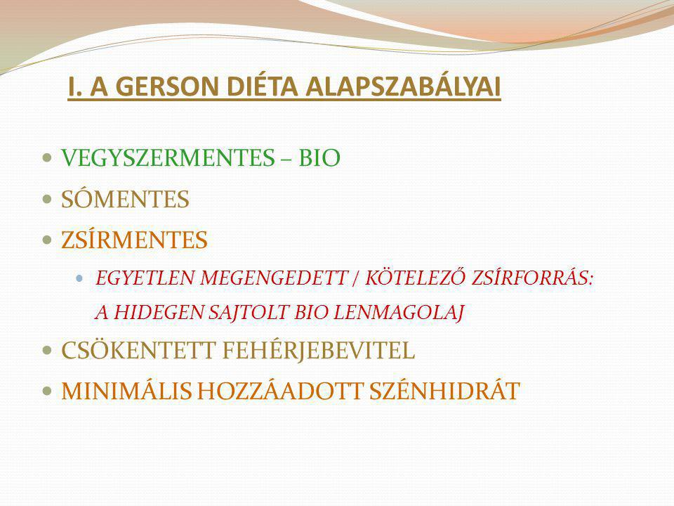 I. A GERSON DIÉTA ALAPSZABÁLYAI