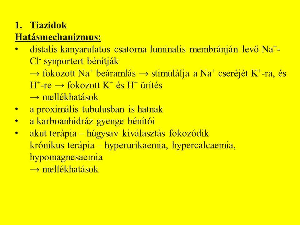 Tiazidok Hatásmechanizmus: