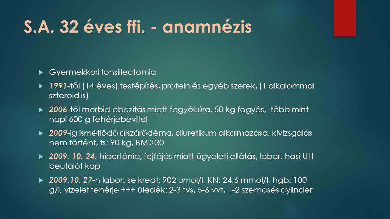 S.A. 32 éves ffi. - anamnézis Gyermekkori tonsillectomia