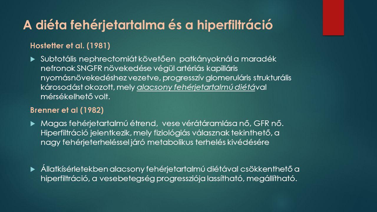 A diéta fehérjetartalma és a hiperfiltráció