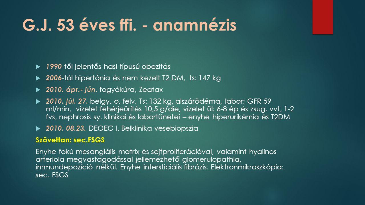 G.J. 53 éves ffi. - anamnézis 1990-től jelentős hasi típusú obezitás