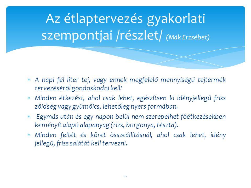 Az étlaptervezés gyakorlati szempontjai /részlet/ (Mák Erzsébet)