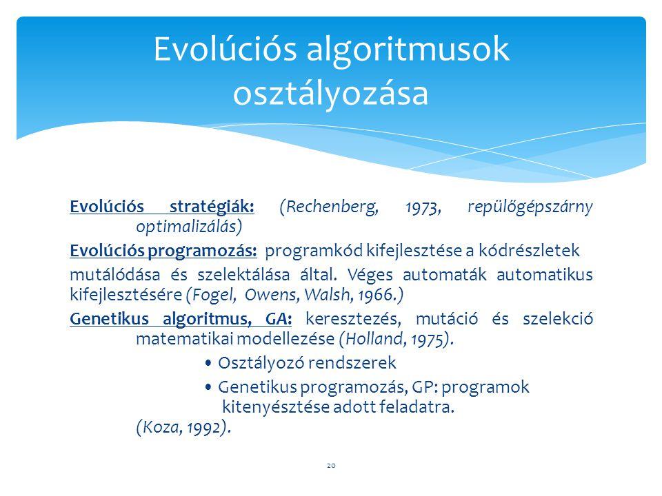 Evolúciós algoritmusok osztályozása