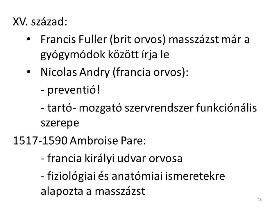 XV. század: Francis Fuller (brit orvos) masszázst már a gyógymódok között írja le. Nicolas Andry (francia orvos):