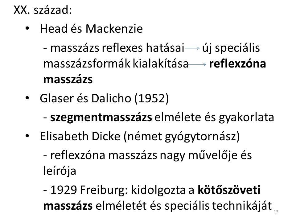 XX. század: Head és Mackenzie. - masszázs reflexes hatásai új speciális masszázsformák kialakítása reflexzóna masszázs.
