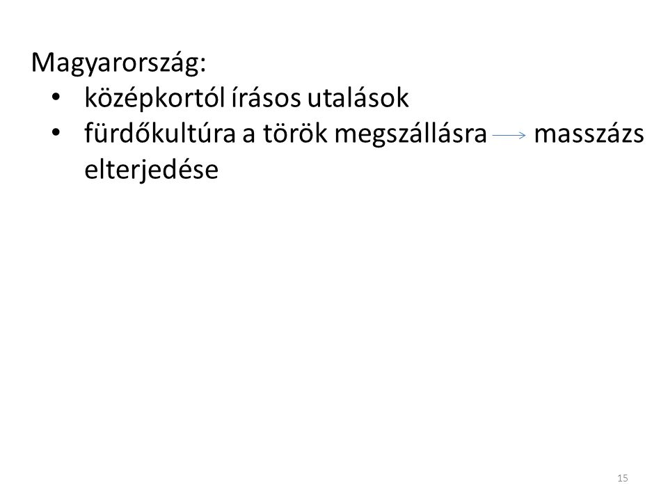 Magyarország: középkortól írásos utalások. fürdőkultúra a török megszállásra masszázs.