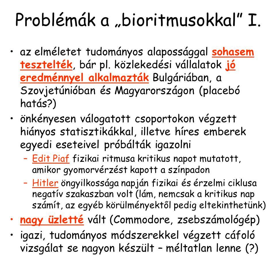 """Problémák a """"bioritmusokkal I."""
