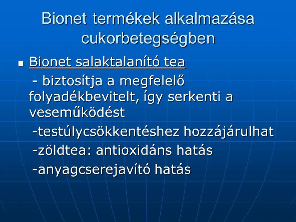 Bionet termékek alkalmazása cukorbetegségben