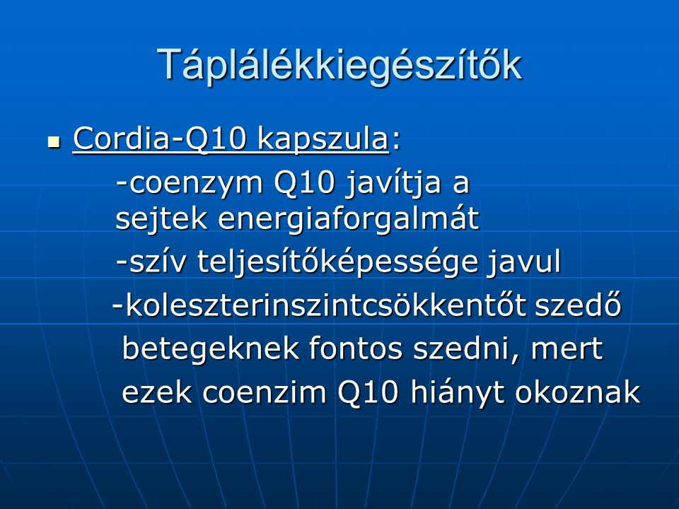 Táplálékkiegészítők Cordia-Q10 kapszula: