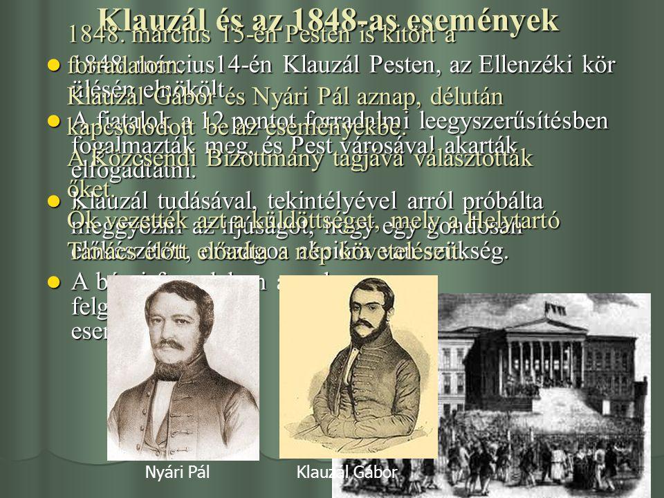 Klauzál és az 1848-as események