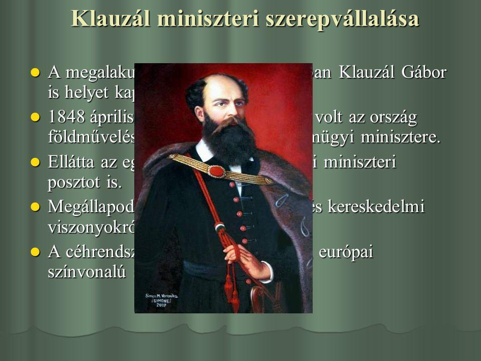 Klauzál miniszteri szerepvállalása