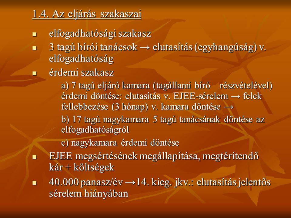 1.4. Az eljárás szakaszai elfogadhatósági szakasz