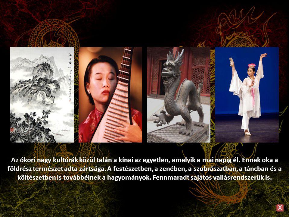 Az ókori nagy kultúrák közül talán a kínai az egyetlen, amelyik a mai napig él. Ennek oka a földrész természet adta zártsága. A festészetben, a zenében, a szobrászatban, a táncban és a költészetben is továbbélnek a hagyományok. Fennmaradt sajátos vallásrendszerük is.